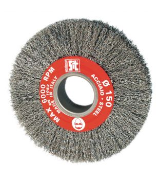 SIT 150 x 27 x 38mm Mild Steel Crimped Bench Grinder Wire Brush