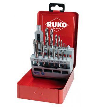 Ruko 15-Piece Tap & Drill Bit Set - M3 to M12 (245 004)