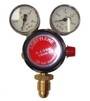 Single Stage Acetylene Regulator - Two Gauge