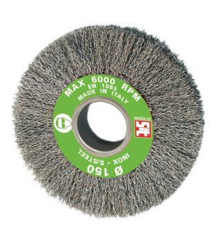 SIT 150 x 27 x 38mm S/S Crimped Bench Grinder Wire Brush