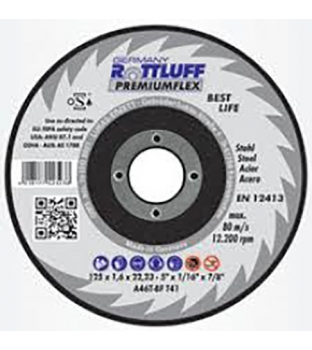 Premium Flex 125 x 6 x 22mm Mild Steel Grinding Disc